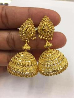 Sparkling Fashion: Gold Jhumka Earring designs latest 2019/ Gold buttalu