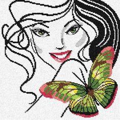 point de croix visage de femme et papillon - cross stitch woman, girl's face with butterfly