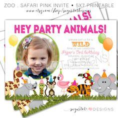Zoo animal birthday party invitation template httpwww zoo birthday party invitation safari invitation jungle themed invite wild animal bright colored zoo birthday invite printable filmwisefo Images