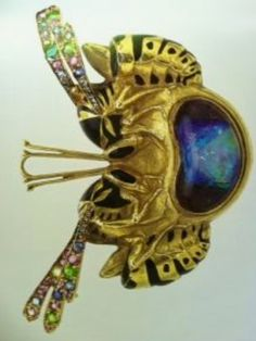 Lalique 1900 'Wasps' Pendant-Brooch: gold/ enamel/ ruby/ opal/ diamond/ emerald/ sapphire. indulgy.com