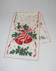 Christmas table runner with bells mistletoe by HappyCloudImports, $11.00