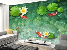 Koi Pond Lily Fish Pad Garden Full Wall Mural Photo Wallpaper Print Home Dec Kid