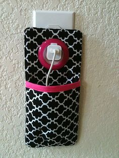 iPhone , iPod Touch, smart phone Docking Station / wall Socket Holder / cell phone charger holder**Black&Pink** on Etsy, $12.00