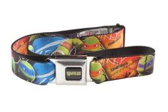 1.5 Wide 32-52 Inches in Length Buckle-Down Seatbelt Belt Classic TMNT Group Faces//TMNT//Ninja Star Black//Green