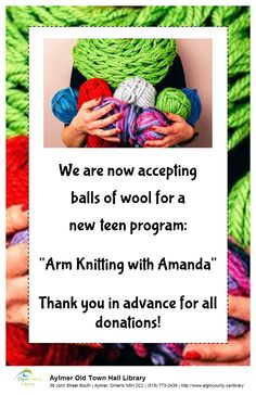 arm knitting Teen Programs, Arm Knitting, Crochet Necklace, Arms, Crochet Hats, Wool, How To Make, Knitting Hats, Crochet Collar