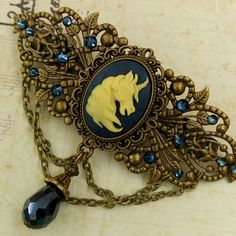 For all fantasy Fans; Large hair barrette with unicorn cameo - New in my etsy shop
