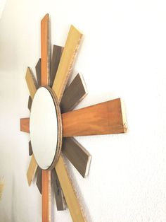 SableSol Orange and yellow pallet wood sunburst mirror