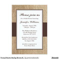 Formal Rustic Burlap Brown Bridal Shower 5x7 Paper Invitation Card