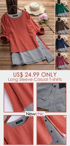 This T-shirts is a must for her fall wardrobe. Special irregular design and fashion striped design make it a versatile addition to your wardrobe. Stock up on outerwear when you shop and save at Newchic. Warm Outfits, Casual Outfits, Cute Outfits, Fashion Outfits, 50 Fashion, Casual Clothes, Cheap Fashion, Fashion Styles, Fashion Boots