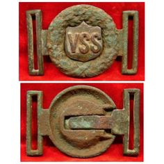 Dug Vicksburg Sharp Shooters Sword Belt Buckle.  Off the charts rare Mississippi Buckle. Most likely worn by officers of the regiment (Co. E, 12th Mississippi Vol. Infantry Regt.). Tongue was dug on the Seven Pines Battlefield (private property) and the wreath was dug near Orange, VA. Even though the buckle is a marriage, it fits perfectly and the patina is a very close match.