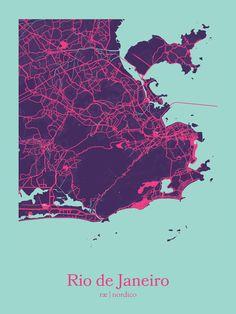 Rio de Janeiro, Brazil Map Print