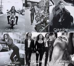 Calvin Klein Jeans has been representing the young adventurous consumer since the 1980s, with references to rebellious lifestyles. In this 1980s ad featuring model Carre Otis, she is represented riding motorcycles, posing with old stylish cars, hanging out with boys in open shirts, white T-shirts and leather or denim jackets. These ads are sexual, desireable, even though she is wearing jeans they are figure hugging, and through photography these ads express effortless style. The only skin…