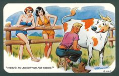 """Nyack Art Comic Postcard """"There's No Accounting for Tastes"""" Man with Cow Art Pictures, Funny Pictures, My Father's House, Vintage Humor, Funny Vintage, Folded Cards, Funny Comics, Vintage Postcards, Comic Art"""