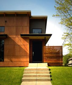 Browse photos of Modern Exterior Cladding Panels Concept Property. Find ideas and inspiration for Modern Exterior Cladding Panels Concept Property to add to your own home Wall Cladding Designs, Exterior Wall Cladding, House Cladding, Timber Cladding, Cladding Panels, Modern Exterior, Exterior Design, Plywood Siding, Cement Siding