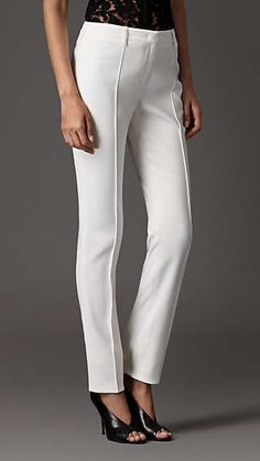 Stretch Virgin Wool Blend Pencil Trousers