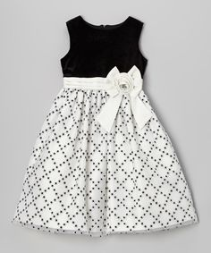 Look at this Jayne Copeland Black & White Glitter Diamond Dress - Girls on today!This frock is all dressed up and has everywhere to go. Coming in an easy-to-move-in silhouette with a full skirt, it can get on and to the dance floor in no time. Frocks For Girls, Little Girl Outfits, Little Girl Dresses, Kids Outfits, Girls Dresses, Kids Frocks Design, Baby Frocks Designs, Kids Dress Wear, Baby Girl Dress Patterns