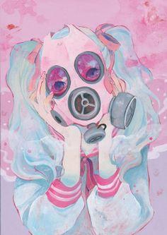 Kawaii Gas mask art. Beautiful and capturing.
