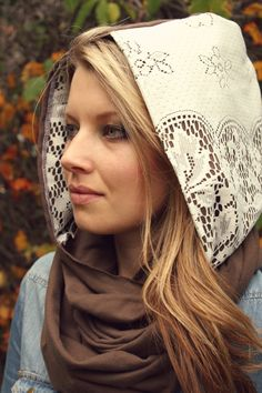 Lace ScarfHooded ScarfEarth Tones by HeidiandSeekBoutique on Etsy, $30.00