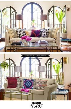 @lgmettler's boho chic los feliz living room featured on @onekingslane recreated for $1407 by @lindseyboyer for Copy Cat Chic #roomredo