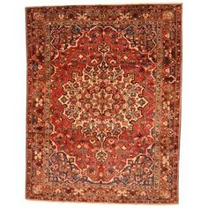 Antique 1930's Persian Hand-knotted Baktiari Red/ Rust Wool Rug (10' x 13')