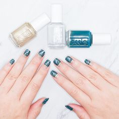 Loving this groovy manicure using nail polish shades from the essie winter 2016 collection. A matte marble nail art look with 'satin sister' a peacock blue, 'go with the flowy' a cloud-like dove gray, 'getting groovy' a metallic gold palladium and 'matte about you' top coat. Shop these winter shades here: http://www.essie.com/
