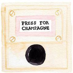 Press For Champagne Watercolor Print