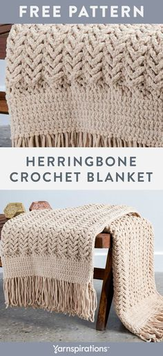 Free Herringbone Crochet Blanket pattern using Bernat Blanket yarn. Slipping stitches never looked so good! Combine double crochet, single crochet, slip stitches and chains to create a classic, textured throw and finish it off with a fabulous fringe. #Yarnspirations #FreeCrochetPattern #CrochetAfghan #CrochetThrow #CrochetBlanket #BernatBlanket #BernatYarn Bernat Blanket Patterns, Crochet Throw Pattern, Slip Stitch Crochet, Free Crochet Blanket Patterns Easy, Easy Crochet Blanket Patterns, Crochet Blanket Tutorial, Crochet Fringe, Crochet Ideas, Blanket Yarn