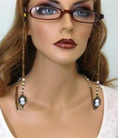 Cameo Eyeglass Chains, Eyeglass Chain, Cameo Necklace, Eyeglass Holders, Eyeglass Necklaces, Beaded Glasses Chains, Buy it on Etsy at Ralston Originals. www.etsy.com/shop/RalstonOriginals. Many color choices. Glasses Chains,  EH029 by RalstonOriginals on Etsy Cameo Jewelry, Cameo Necklace, Eyeglass Holder, Handmade Jewelry, Diy Jewelry, Jewlery, Gold Glass, Modern Jewelry, Eyeglasses