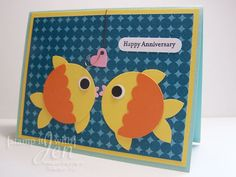 Punch Art Fish Anniversary Card! Made with Stampin' Up Punches and supplies!