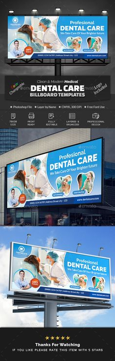 Buy Medical Dental Care Billboard Template by Creative-Touch on GraphicRiver. This Billboard Template is perfectly suitable for promoting your Business. You can also use this template in multipur. Medical Health Care, Medical Dental, Dental Care, Letterhead Template, Brochure Template, Cool Business Cards, Signage Design, Certificate Templates, Promote Your Business