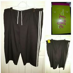 Black capris with white side stripes NWT, Black capris, with elastic waistband with drawstring, side pockets, measures 34 in. Length from waistline to hemline,  100% polyester,  Size: 3X  by Made for life by JCP Made for life by JCP  Pants Capris