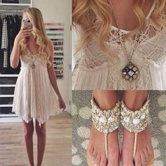 Lace boho dress and beach sandals