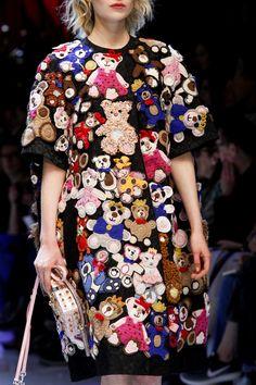 Dolce & Gabbana at Milan Fashion Week, Fall 2016 - (Details) Teddy-Bear Crochet Applique