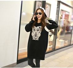 new fashion women blouse girl pullover shirt animal print funny owl