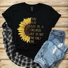Dreamer Sunflower T Shirt Fall Outfits, Cute Outfits, Fashion Outfits, Vinyl Shirts, Tee Shirts, Cute Shirt Designs, Sunflower Shirt, T Shirt Painting, Painted Clothes