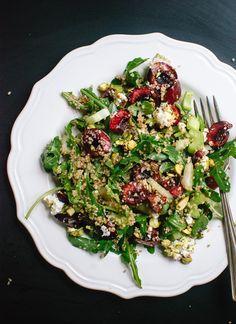 Cherry, couscous, arugula and pistachio salad in balsamic vinaigrette (recipe) - cookieandkate.com