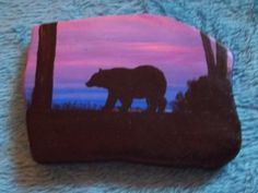 Black Bear at Sunset Acrylic Hand Painted on by HelensArtRocks, $20.00