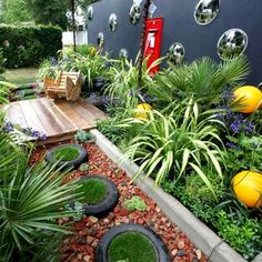 Using recycled tyres in garden design