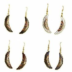 Cloisonne Feather Earrings w/Hypoallergenic Backings $5.99