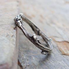 Sterling zilveren ontluikende Twig trouwring of stapelen Ring