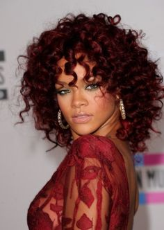 Rihanna Red Curly Hairstyle
