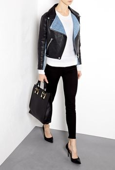 Rita Leather Jacket With Denim Panels by Acne