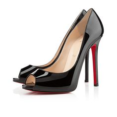 * 239 120mm Christian Louboutin Flo Peep Toe Black Pumps ENJ