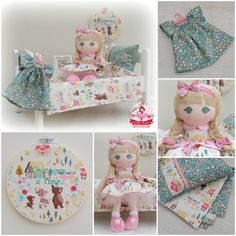 "Gorgeous handmade dolly set by Little Sugar Plums using Riley Blake Designs ""Goldilocks"" By Jill Howarth. Plum Uses, Dress Up Dolls, Riley Blake, Rag Dolls, Toddler Bed, Sugar, Prints, Handmade, Design"