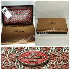 """New Coach red zip wallet w/ gold Coach gift box 100% authentic. Red, black, white coated canvas with leather trim. Inside compartments and card slots. L-zip closure and fabric lining. Strap with clip to form wrist strap or attach to inside of bag. Measures 8"""" x 4.25"""". Brand new with tags and attached to gold Coach gift box. Comes from a pet and smoke free home. Coach Bags Wallets"""