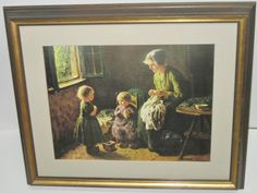 Her First Lesson. Bernard Pothast (1882-1966) Print Art Wood FRAMED Glass 21x17 #Realism
