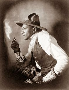 The picture above was from 1908, and shows a Cowboy smoking a cigarette. The man is a Sioux Indian.
