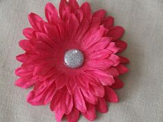CLEARANCE Sparkly Pink Flower Hair Clip with Glitter and by ang744, $3.50
