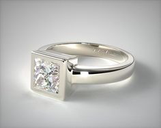 This ultra contemporary solitaire ring features a thin bezel wall that surrounds the princess shaped diamond of your choice and a moderately thick band for ultimate style and comfort. | Ring style # 11112W14 on JamesAllen.com. Click to see this ring in 360° HD!