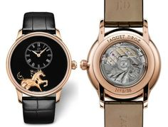 Jaquet Droz Welcomes The Year Of The Horse With Three Watches - features at least one of three highly complex artistic decorative technique on its dial: engraving, painting and grand feu enamel. All are from Jaquet Droz's Petite Heure Minute collection, with hours and minutes indicated on an off-center subdial.